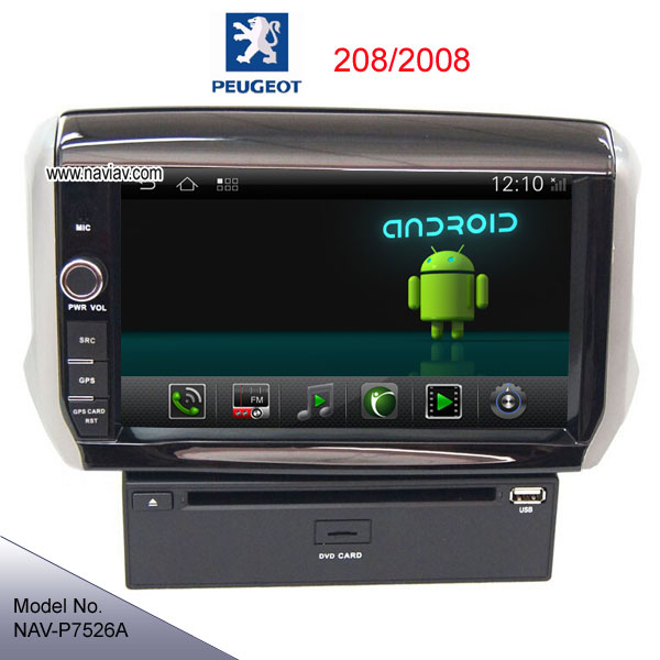 android 4 2 peugeot 208 2008 radio car dvd player gps wifi. Black Bedroom Furniture Sets. Home Design Ideas